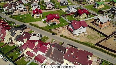 view from above on Modern cottage village near Moscow,...