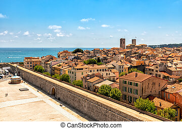 View from above on old town of Antibes, France.