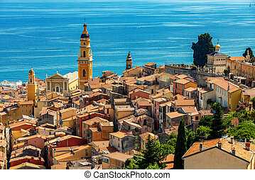 View from above on old town of Menton, France.