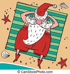 View from above on Santa Claus on the beach - Cartoon...