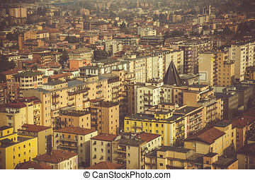 View from above on the city of Brescia, early spring morning