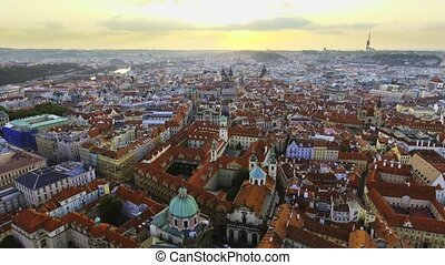 View from above on the cityscape of Prague, flight over the city, top view
