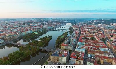 View from above on the cityscape of Prague, flight over the city, top view, Vltava River, Charles Bridge.