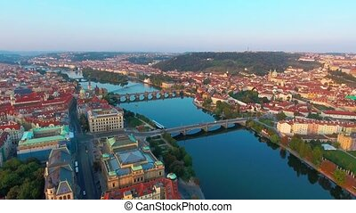 View from above on the cityscape of Prague, flight over the city, top view, Vltava River, Charles Bridge
