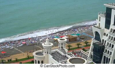 view from above, the hotel is located next to the coast and...