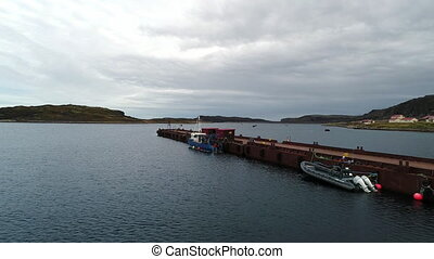 View from above wharf on water surface on Stts Dalniye...