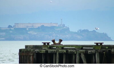 Alcatraz Island - View from across a pier of the world...