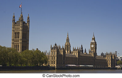Palace of Westminster - View from across the Thames to the...