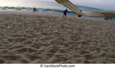 View from action camera on climb at paraglider - View from...