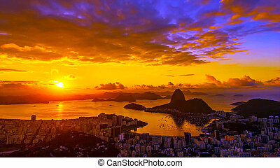 View from afar on Rio de Janeiro at sunrise