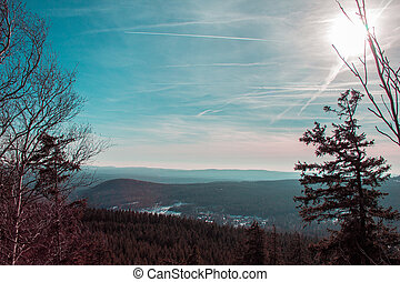 View from Ahrensklint over Harz Mountains in Germany