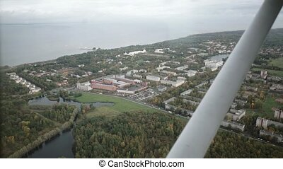 View from aircraft cabin: Peterhof shot