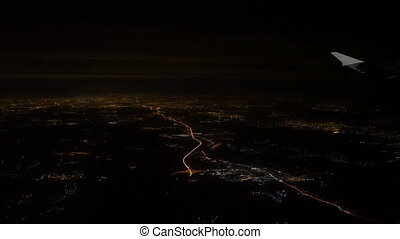 View from aircraft to Moscow city - Night view from aircraft...