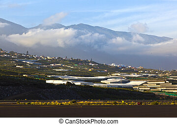 view from airport La Palma to the hills