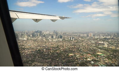 View from an airplane window.Manila, Philippines.