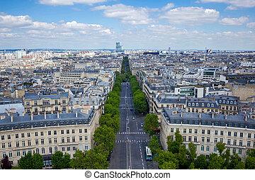 View from Arc de Triomphe, Paris, France