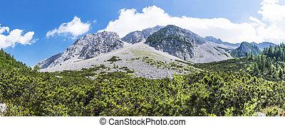 View from Austria to mountain range Karawanks, border to...