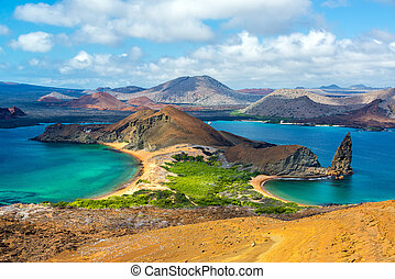 View from Bartolome Island - View of two beaches on...