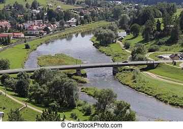 View from Baszta Mountain to bridge over Poprad River.