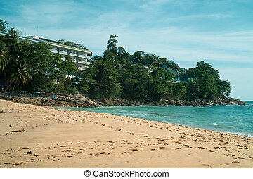 View from beach on hotel