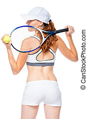 View from behind tennis player with racket on white background