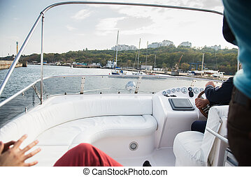 View from board of yacht in sea