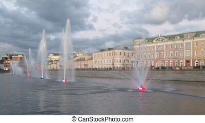 View from boat on fountains in Moscow Vodootvodnoy canal on...