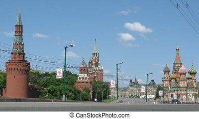 View from Bolshoy Moskvoretsky Bridge on Kremlin and Red Square in Moscow, Russia.