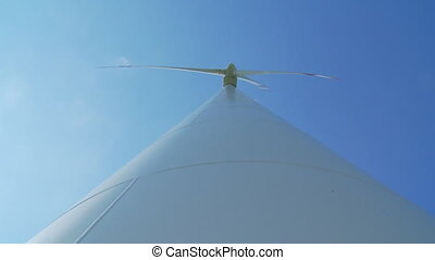 view from bottom to top of a windmill