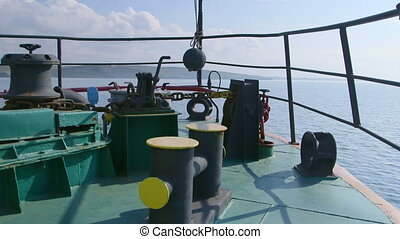 View from bow of commercial fishing vessel