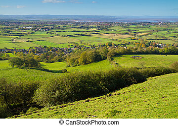 View from Brent Knoll Somerset towards the Bristol Channel and Quantock Hills