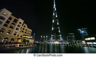View from Burj Dubai Lake Bridge on skyscraper Burj Khalifa in Dubai, UAE.