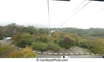 View from cable car on Ai-Petri - View from Overhead Cable...