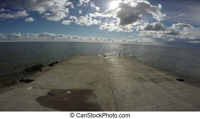 View from cement pier in Curonian Lagoon, 4K - View from...