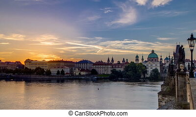 View from Charles Bridge in Prague during the sunrise...