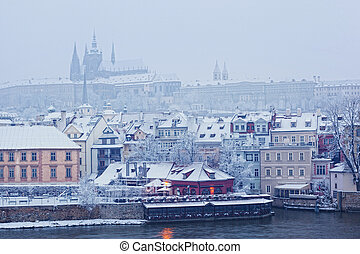 view from Charles bridge on Prague castle