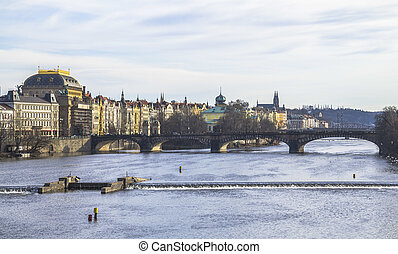 View from Charles Bridge on the city of Prague