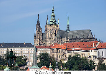 View from Charles Bridge towards the St Vitus Cathedral in Prague
