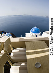 view from coffee shop santorini