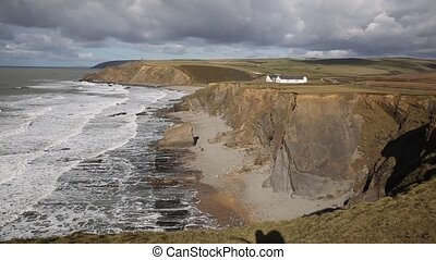 View from Crooklets to Northcott Mouth beach near of Bude...