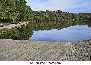 View From Dock - An early Autumn lake view in Turkey Brook...