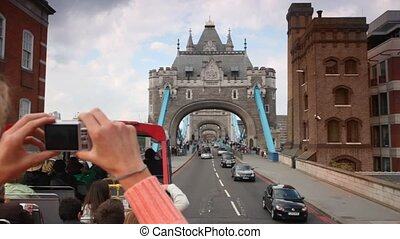 View from double-decker at Tower Bridge in London, UK.