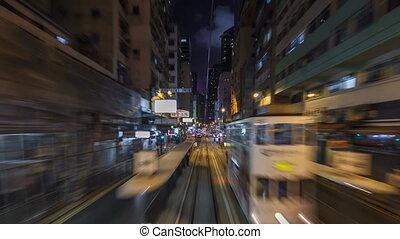 View from double-decker tram on street of HK timelapse hyperlapse.