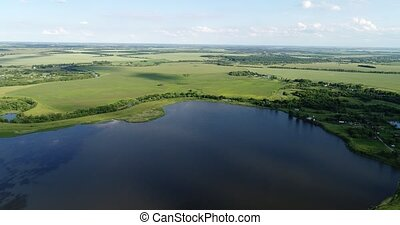 View from dron to ponds and village in Russia - View from a...