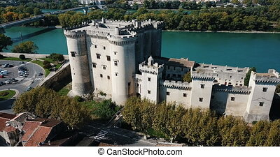 View from drone of castle of Tarascon and river Rhone, France. High quality 4k footage