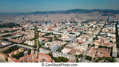 View from drone of Eixample district in Barcelona at summer ...