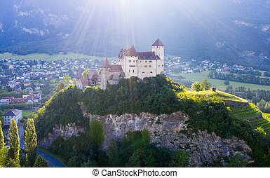View from drone of Gutenberg Castle in Balzers, ...