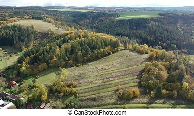 Aerial view of picturesque autumn hilly landscape with colored trees