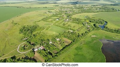 View from drone to the countryside of central Russia