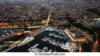 sailboats and yachts in old port of Barcelona and gothic ...